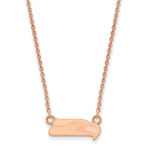 Seattle Seahawks Sterling Silver Rose Gold Plated Small Pendant Necklace