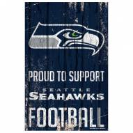 Seattle Seahawks Proud to Support Wood Sign