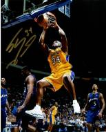 Shaquille O'Neal Signed L.A. Lakers Yellow Jersey Two Handed Dunk 8 x 10 Photo (Signed in Gold)