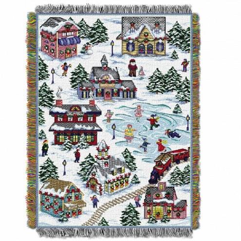 Snowy Village Throw Blanket