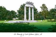 South Alabama Jaguars Campus Images Lithograph