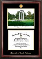 South Alabama Jaguars Gold Embossed Diploma Frame with Campus Images Lithograph