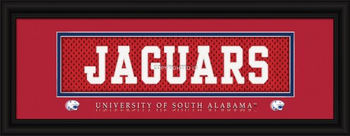 "South Alabama Jaguars ""Jaguars"" Stitched Jersey Framed Print"