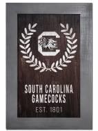 """South Carolina Gamecocks 11"""" x 19"""" Laurel Wreath Framed Sign"""