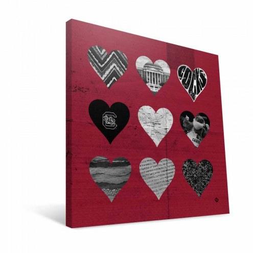 "South Carolina Gamecocks 12"" x 12"" Hearts Canvas Print"