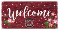 """South Carolina Gamecocks 6"""" x 12"""" Floral Welcome Sign"""