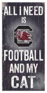 """South Carolina Gamecocks 6"""" x 12"""" Football & My Cat Sign"""