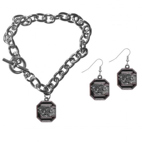 South Carolina Gamecocks Chain Bracelet & Dangle Earring Set