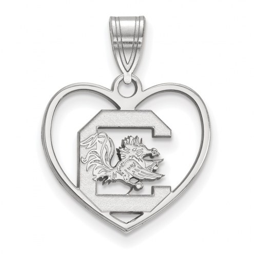 South Carolina Gamecocks Sterling Silver Heart Pendant