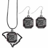 South Carolina Gamecocks Dangle Earrings & State Necklace Set