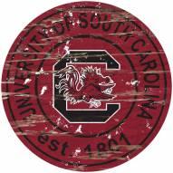 South Carolina Gamecocks Distressed Round Sign