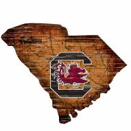South Carolina Gamecocks Distressed State with Logo Sign