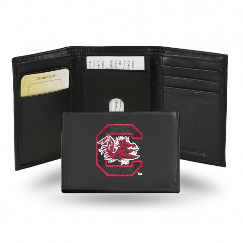 South Carolina Gamecocks Embroidered Leather Tri-Fold Wallet