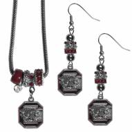 South Carolina Gamecocks Euro Bead Earrings & Necklace Set