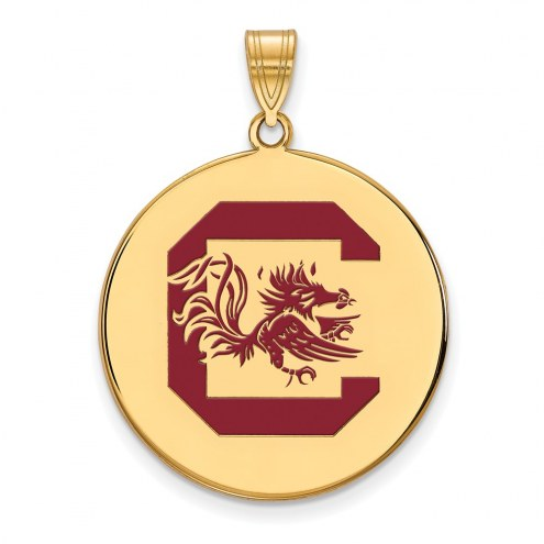 South Carolina Gamecocks Sterling Silver Gold Plated Extra Large Enameled Disc Pendant