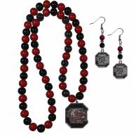 South Carolina Gamecocks Fan Bead Earrings & Necklace Set