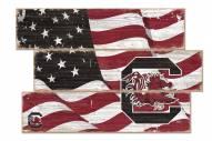 South Carolina Gamecocks Flag 3 Plank Sign