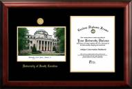 South Carolina Gamecocks Gold Embossed Diploma Frame with Campus Images Lithograph