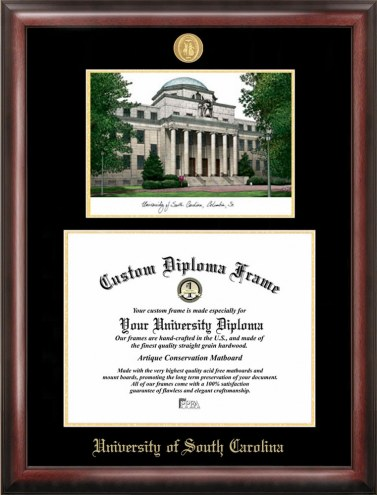 South Carolina Gamecocks Gold Embossed Diploma Frame with Lithograph
