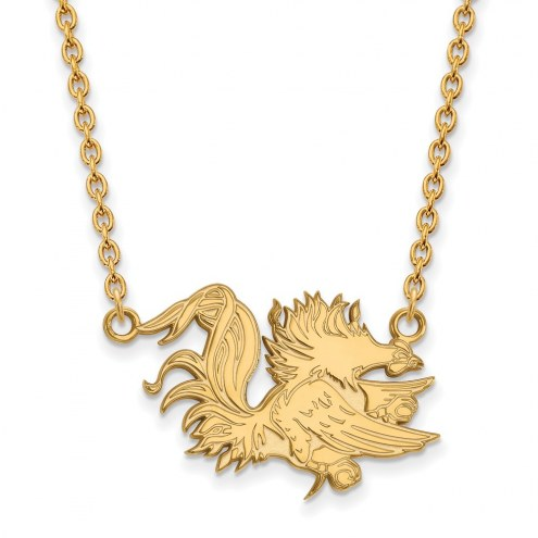 South Carolina Gamecocks Sterling Silver Gold Plated Large Pendant Necklace