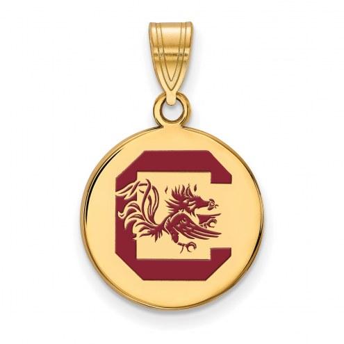 South Carolina Gamecocks Sterling Silver Gold Plated Medium Enameled Disc Pendant