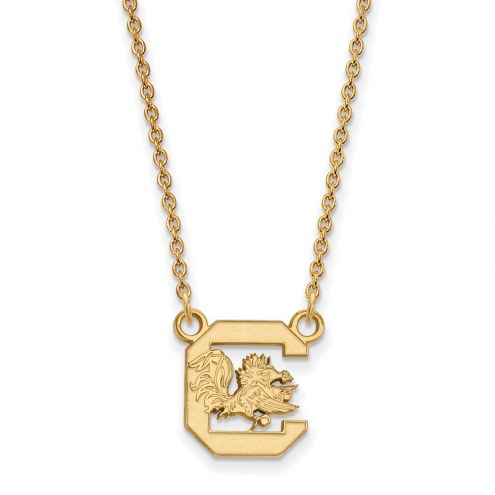 South Carolina Gamecocks Sterling Silver Gold Plated Small Pendant Necklace