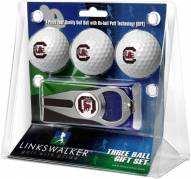 South Carolina Gamecocks Golf Ball Gift Pack with Hat Trick Divot Tool