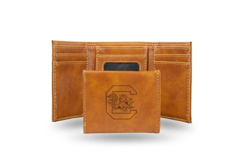 South Carolina Gamecocks Laser Engraved Brown Trifold Wallet