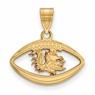 South Carolina Gamecocks Sterling Silver Gold Plated Football Pendant