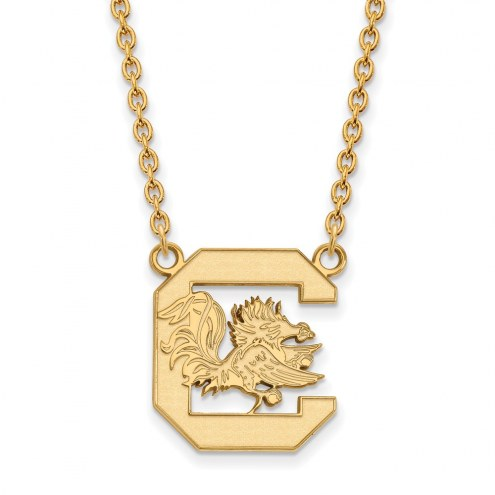 South Carolina Gamecocks NCAA Sterling Silver Gold Plated Large Pendant Necklace