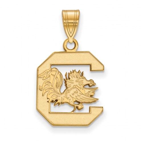 South Carolina Gamecocks NCAA Sterling Silver Gold Plated Medium Pendant