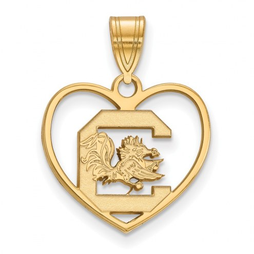 South Carolina Gamecocks NCAA Sterling Silver Gold Plated Heart Pendant