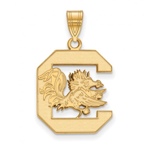 South Carolina Gamecocks NCAA Sterling Silver Gold Plated Large Pendant