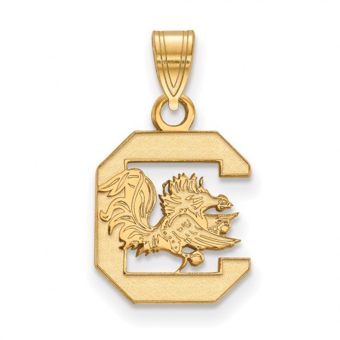 South Carolina Gamecocks NCAA Sterling Silver Gold Plated Small Pendant