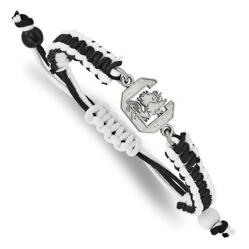 South Carolina Gamecocks Stainless Steel Adjustable Cord Bracelet