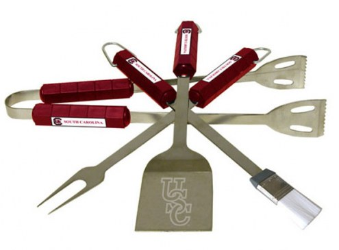 South Carolina Gamecocks NCAA 4-Piece Stainless Steel BBQ Set
