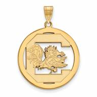 South Carolina Gamecocks Sterling Silver Gold Plated Extra Large Pendant