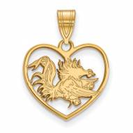 South Carolina Gamecocks Sterling Silver Gold Plated Heart Pendant