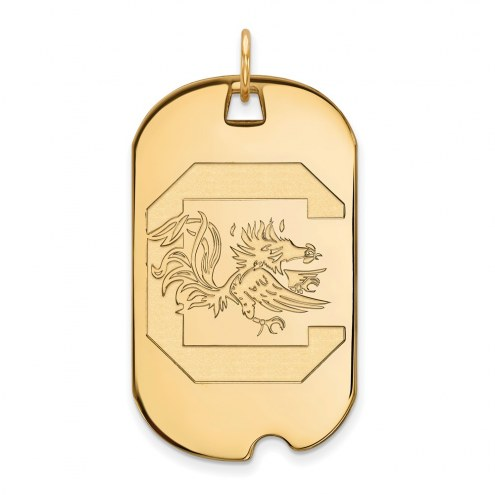 South Carolina Gamecocks Sterling Silver Gold Plated Large Dog Tag
