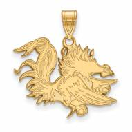 South Carolina Gamecocks Sterling Silver Gold Plated Large Pendant