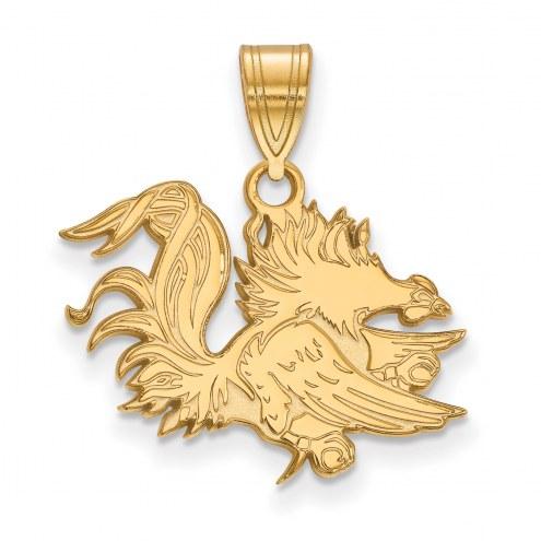 South Carolina Gamecocks Sterling Silver Gold Plated Medium Pendant