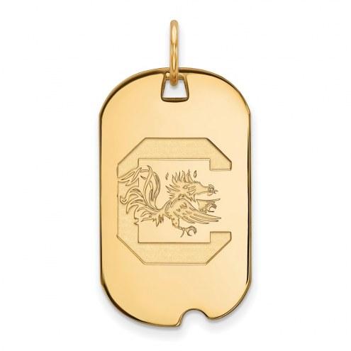 South Carolina Gamecocks Sterling Silver Gold Plated Small Dog Tag