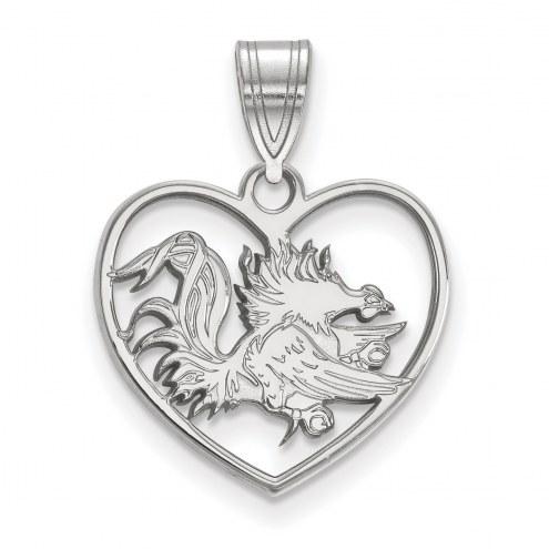 South Carolina Gamecocks Sterling Silver Heart Pendant