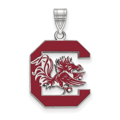 South Carolina Gamecocks Sterling Silver Large Enameled Pendant