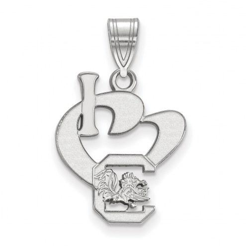 South Carolina Gamecocks Sterling Silver Large I Love Logo Pendant