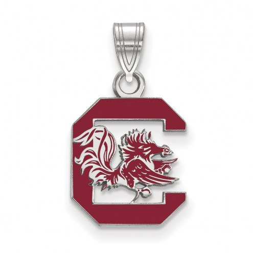 South Carolina Gamecocks Sterling Silver Medium Enameled Pendant