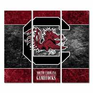 South Carolina Gamecocks Triptych Double Border Canvas Wall Art