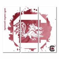South Carolina Gamecocks Triptych Watercolor Canvas Wall Art