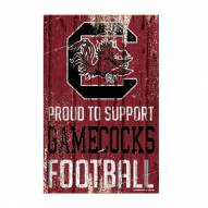 South Carolina Gamecocks Proud to Support Wood Sign