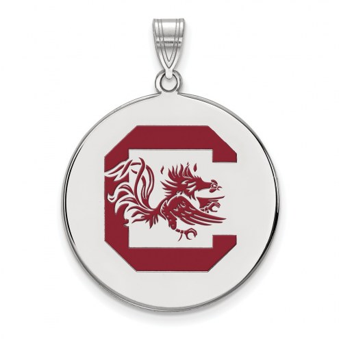 South Carolina Gamecocks Sterling Silver Extra Large Enameled Disc Pendant